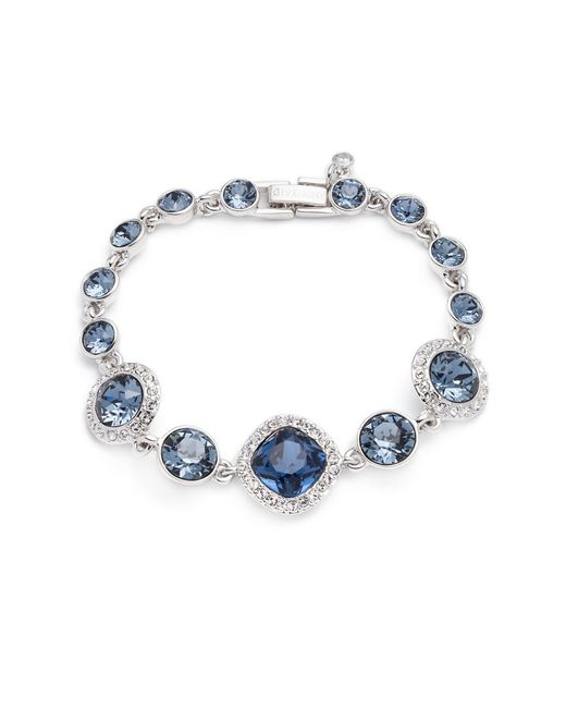 Givenchy | Metallic Silver-tone Blue Crystal And Pave Link Bracelet | Lyst