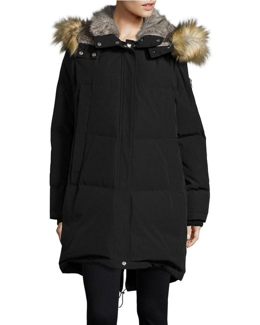 Vince Camuto | Black Straight Fit Faux Fur Hooded Fill Jacket | Lyst