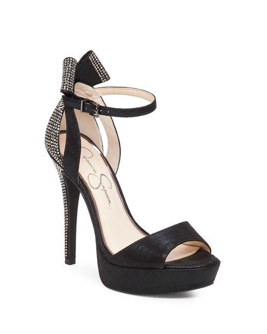 Jessica Simpson | Black Baani Embellished Platform Heels | Lyst