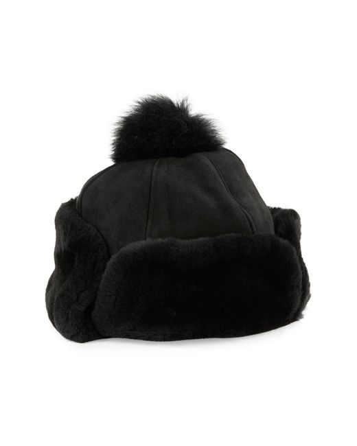 Ugg | Black Shearling Fur Heritage Flap Hat | Lyst