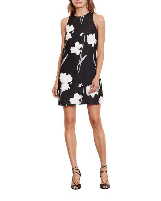 Lauren by Ralph Lauren | Black Floral Crepe Dress | Lyst