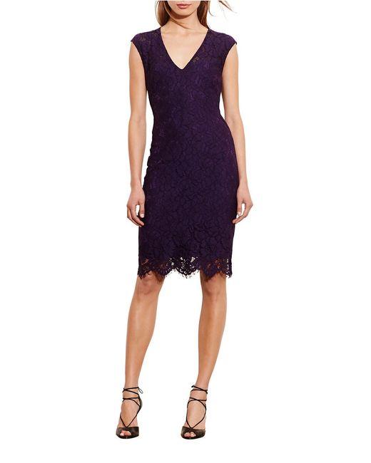 Lauren by Ralph Lauren | Purple Lace Sheath Dress | Lyst