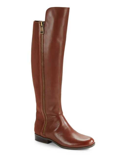 bandolino camme wide calf leather boots in brown lyst