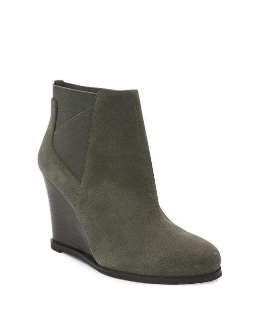 tahari cora suede wedge ankle boots in green lyst