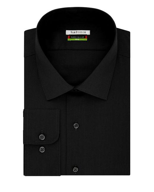 Van heusen flex collar big dress shirt in black for men lyst for Van heusen shirts flex collar