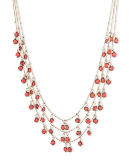 Anne Klein | Metallic Shaky Siam Cubic Zirconia Layered Necklace | Lyst