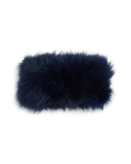 Adrienne Landau | Blue Elasticized Fox Fur Headband | Lyst