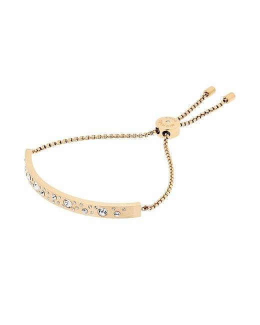 Michael Kors | Metallic Pavé Bar Plaque Slider Bracelet | Lyst
