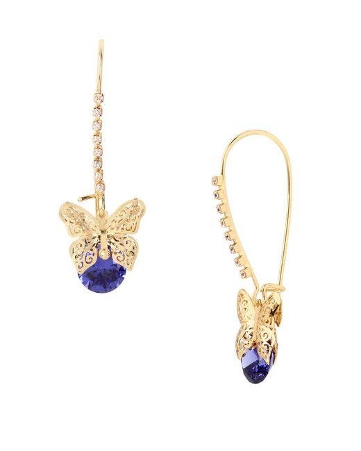 Betsey Johnson | Purple Cubic Zirconia Goldtone Butterfly Drop Earrings | Lyst