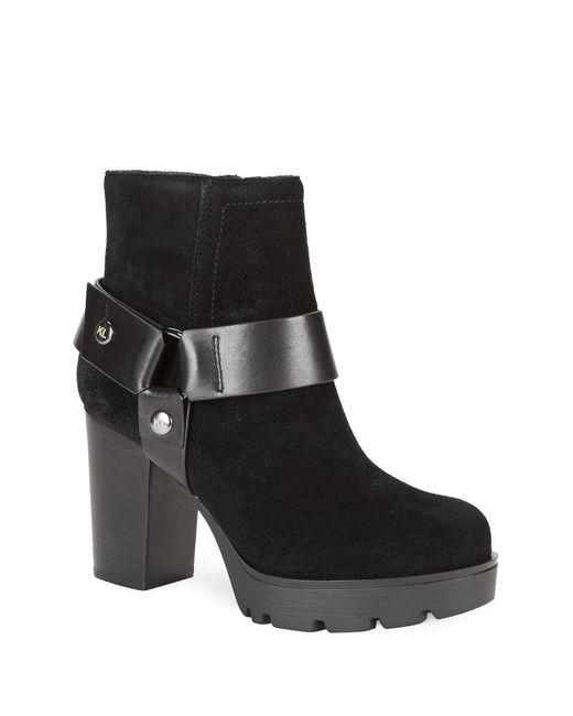karl lagerfeld suede platform high heel boots in black lyst