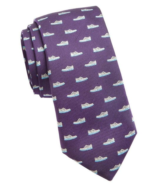 Cole Haan | Purple Shoe Embroidered Silk Tie for Men | Lyst