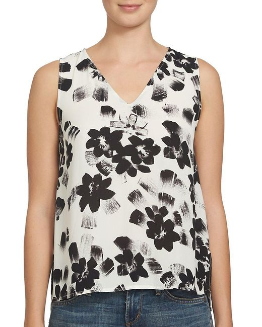 1.STATE   White Floral Printed Sleeveless Top   Lyst