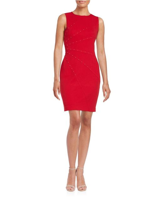 Jessica Simpson | Red Studded Sheath Dress | Lyst