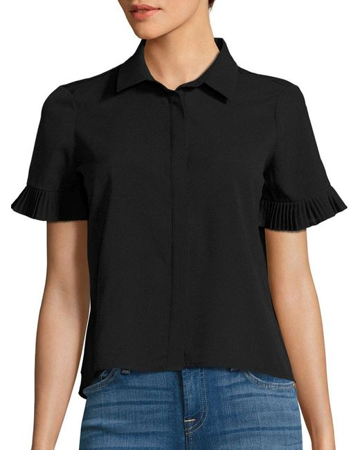 French Connection | Black Polly Plains Pleated Shirt | Lyst