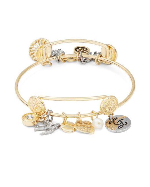 r j graziano g initial charm bracelet in metallic lyst