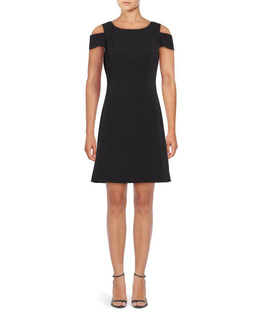 Adrianna Papell | Black Power Stretch Cold Shoulder A-line Dress | Lyst