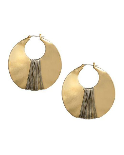Kenneth Cole | Metallic Large Gold And Hematite Sculptural Hoop Earring | Lyst
