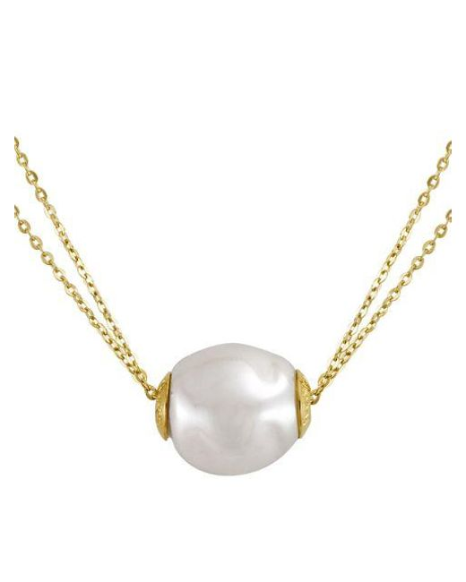 Majorica | White 18kt Gold Vermeil And Pearl Double Strand Necklace | Lyst