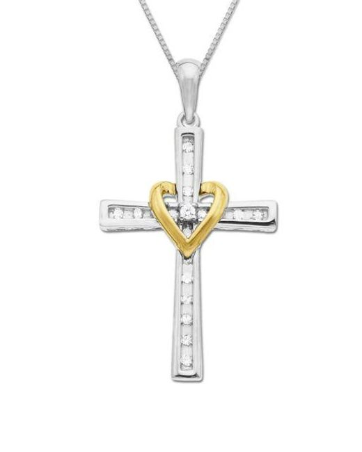 Lord & Taylor | Metallic Diamond Accented Cross In Sterling Silver With 14k Yellow Gold | Lyst