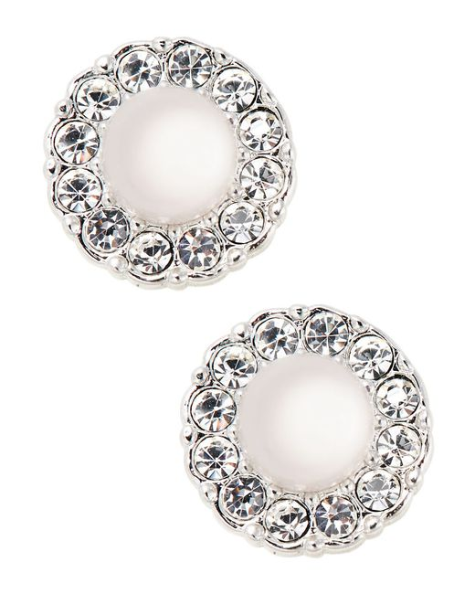 Nadri | White Sparkling Faux Pearl Stud Earrings | Lyst