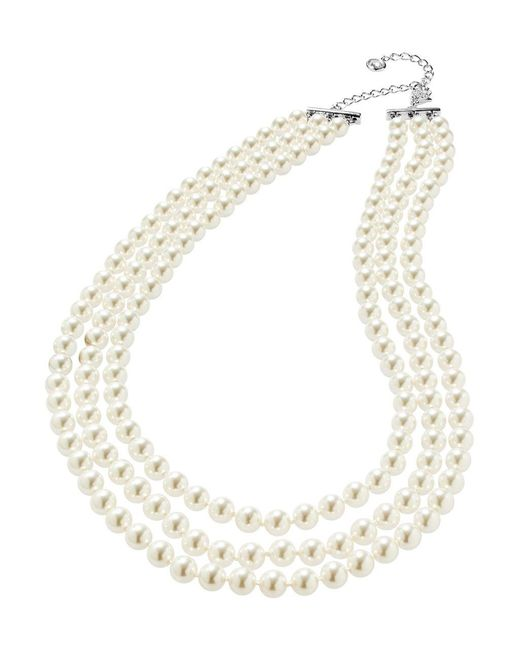Nadri | White Three-row Pearl Necklace | Lyst