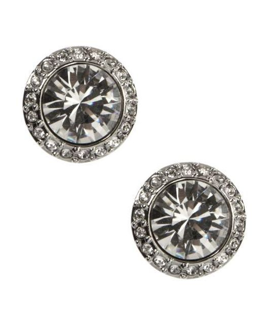Givenchy | Metallic Silvertone Crystal Stud Earrings | Lyst