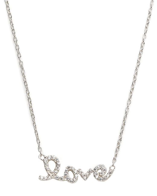 Lord & Taylor | Metallic Pave Love Script Necklace | Lyst