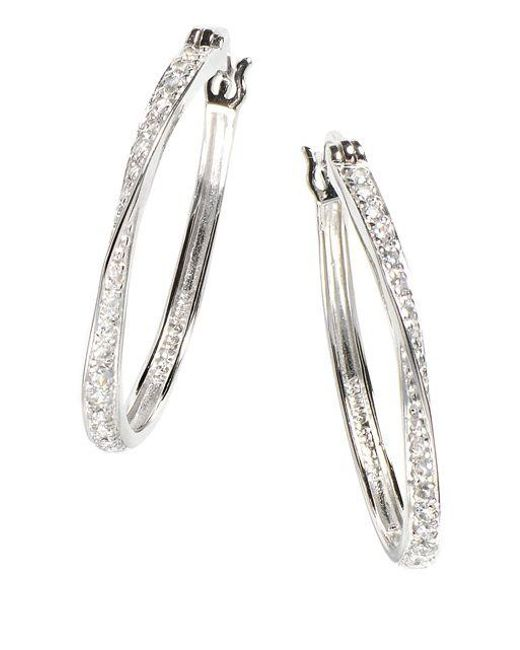 Lord & Taylor | White Sterling Silver Hoop Earrings | Lyst