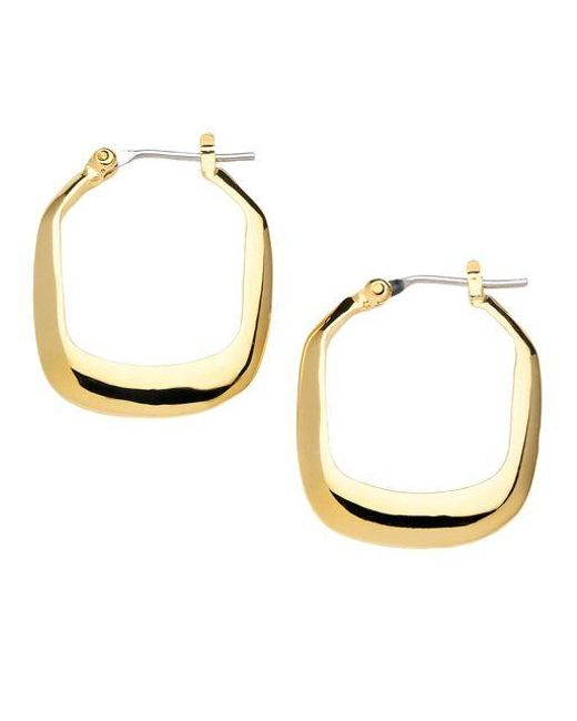 Kenneth Cole | Metallic Small Rectangular Hoop Earrings | Lyst