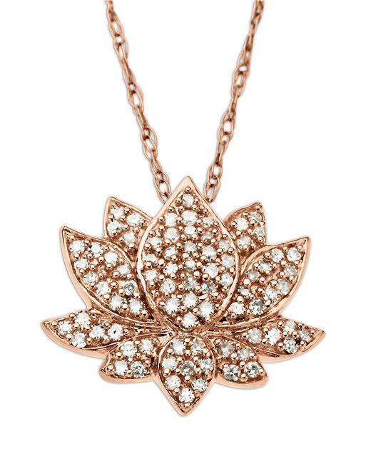 Lord & Taylor | Metallic 14 Kt. Rose Gold Diamond Lotus Flower Pendant | Lyst