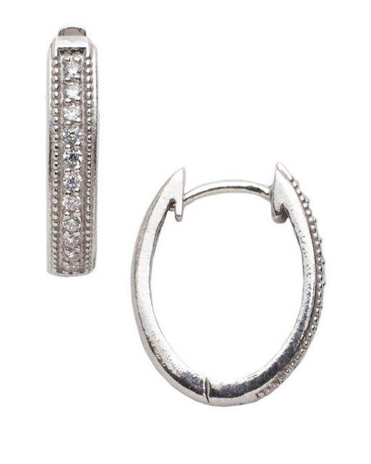 Lord & Taylor | Metallic Channel Set Cubic Zirconia Sterling Silver Hoop Earrings | Lyst
