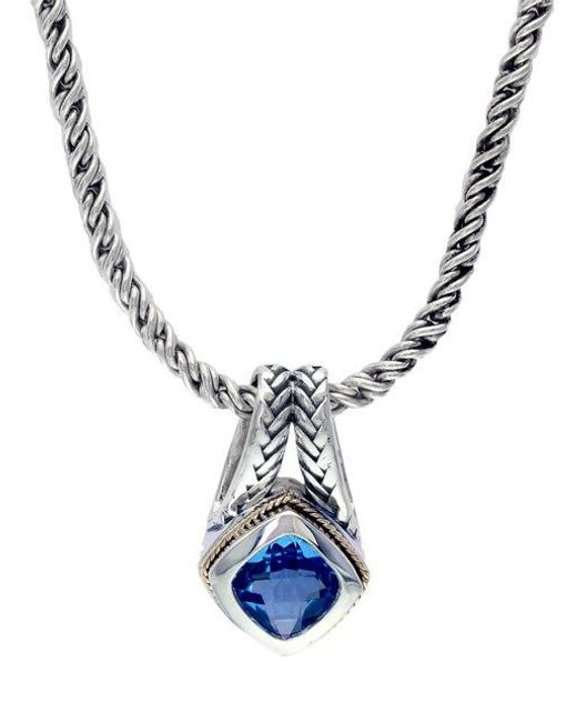 Effy | Sterling Silver And 18k Yellow Gold Blue Topaz Pendant Necklace | Lyst