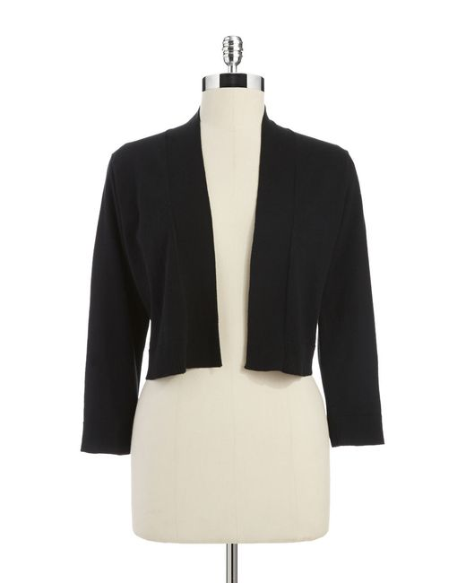 Calvin Klein   Black Long Sleeve Cropped Cardigan   Lyst