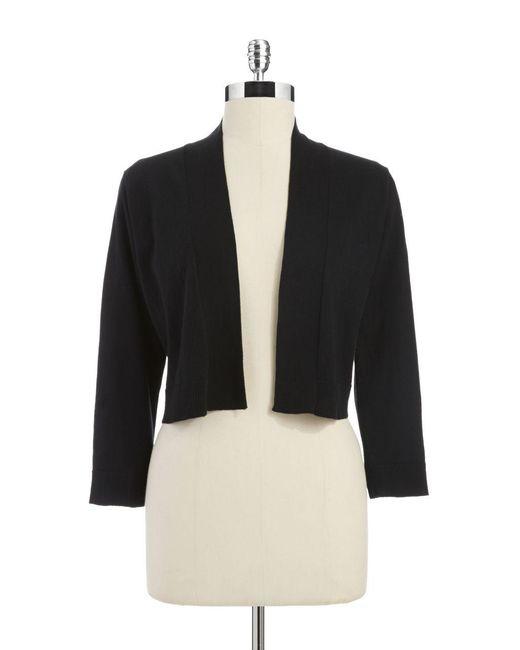 Calvin Klein | Black Long Sleeve Cropped Cardigan | Lyst