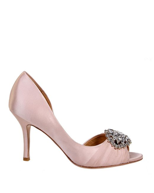 Badgley Mischka | Pink Pearson Satin Pumps | Lyst