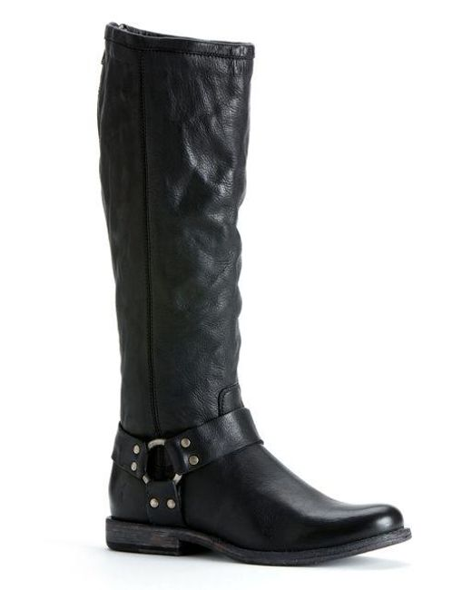 Frye | Black Phillip Harness Riding Boots | Lyst