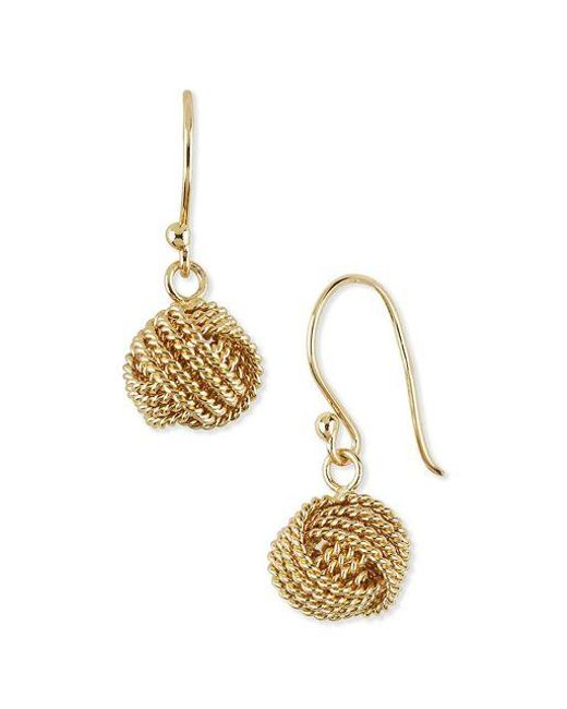 Lord & Taylor | Metallic 18kt Gold Knotted Ball Drop Earrings | Lyst