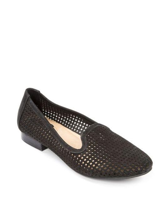Me Too | Black Yale Round-toe Perforated Loafers | Lyst