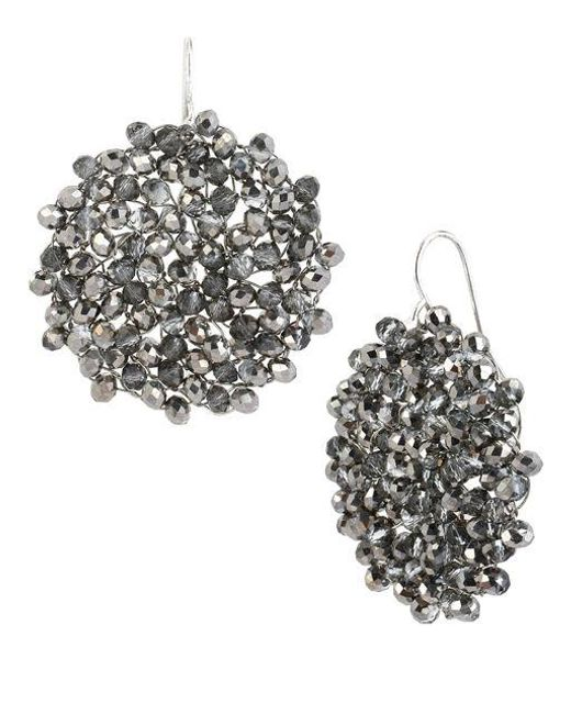 Kenneth Cole | Black Diamond-crystal Woven Drop Earrings | Lyst