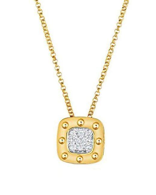 Roberto Coin | Metallic Pois Mois Diamond And 18k Yellow Gold Pendant Necklace | Lyst
