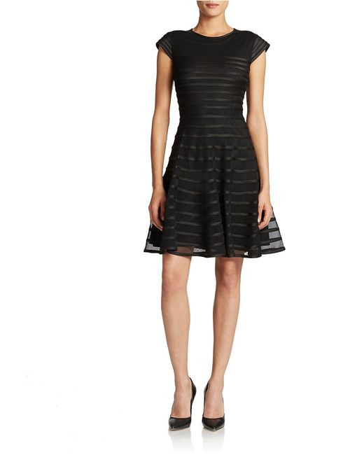 Betsy & Adam   Black Striped Mesh Fit And Flare Dress   Lyst