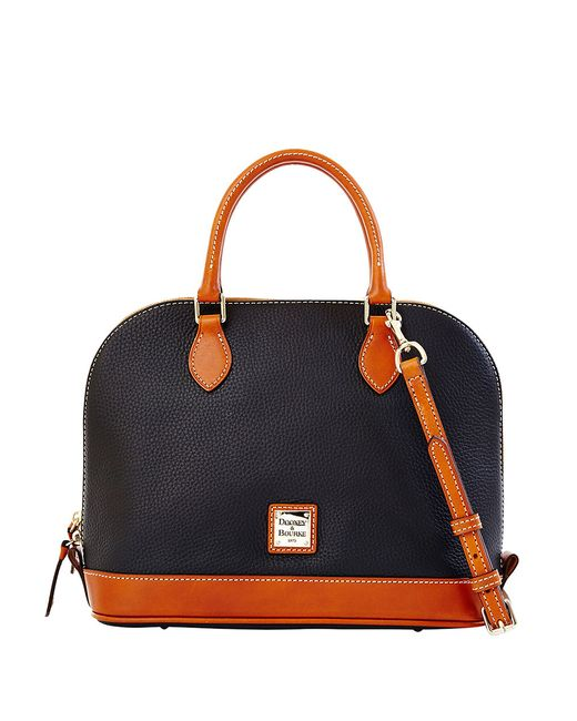 Dooney & Bourke | Black Zip Zip Pebbled Leather Satchel | Lyst