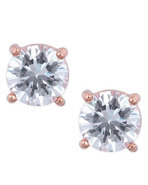Anne Klein   Metallic Rose Goldtone And Cubic Zirconia Stud Earrings   Lyst