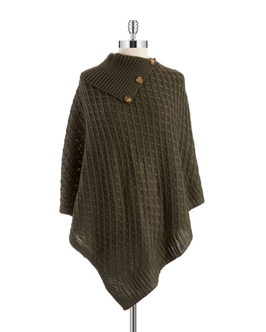 Lord & Taylor | Green Basket Weaved Poncho | Lyst