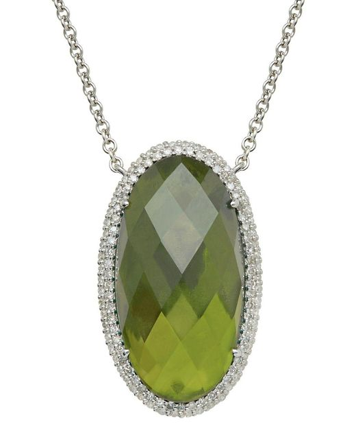 Lord & Taylor | Green Sterling Silver Vesuvianite And Diamond Necklace | Lyst