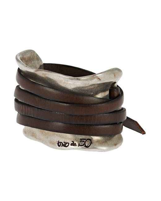 Uno De 50 | Brown Leather Strap Accented Cuff Bracelet for Men | Lyst