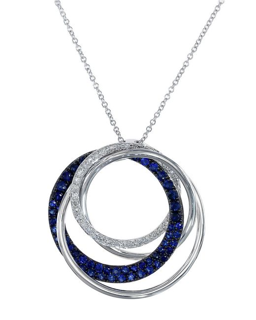 Effy | Blue Royale Bleu 14k White Gold Interlocking Rings Necklace With Sapphire And Diamonds | Lyst