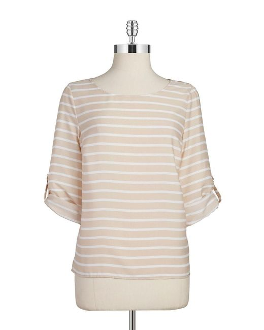 Calvin Klein | Natural Striped Blouse | Lyst