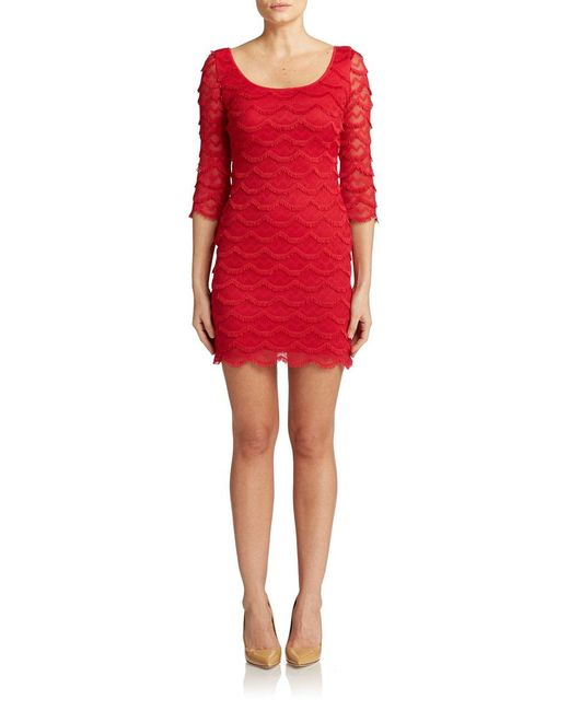 Guess | Red Scalloped Fringe Bodycon Dress | Lyst
