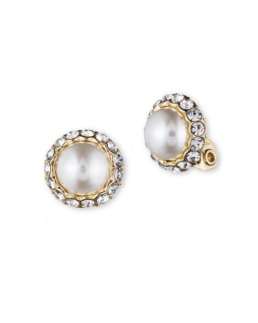 Anne Klein | Metallic Pearl And Glitz Clip Earrings | Lyst